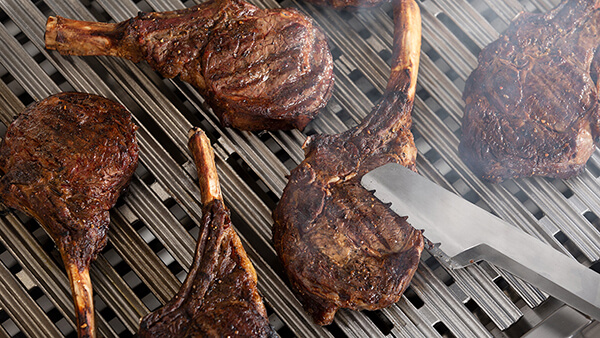 Close up of seared meat on DCS grill