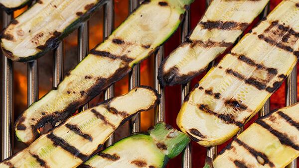 Charcoal grilled eggplants